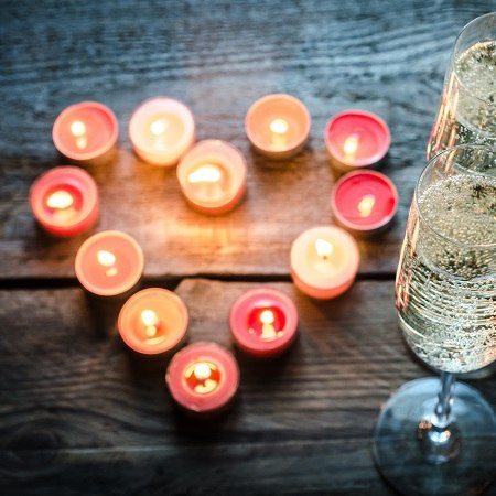 colourful candles and a drink are winter warmers