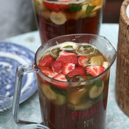 Jugs of Pimms on a table - a very English way to celebrate special occasions and special offers!