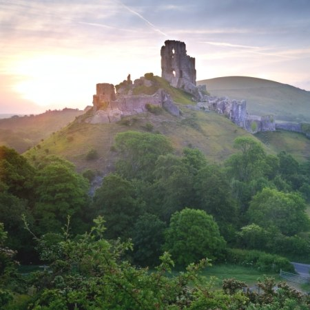 Corfe Castle as featured in our Enid Blyton's Dorset cycling and walking holiday