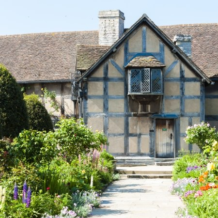 New Place, Shakespeare's final residence in Stratford, on our Shakespeare-themed cycling trip