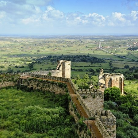 The majestic Trujillo castle on our Spanish cycling holiday