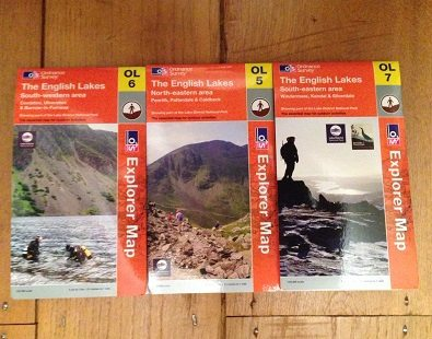 Ordnance Survey maps of the Lake District, where The Carter Company offer walking holidays