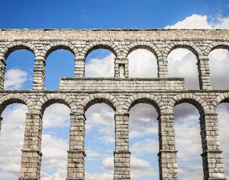 The Roman Aqueduct at the UNESCO World Heritage Site of Segovia in Spain, on our 'Medieval heart of Spain' cycling holiday