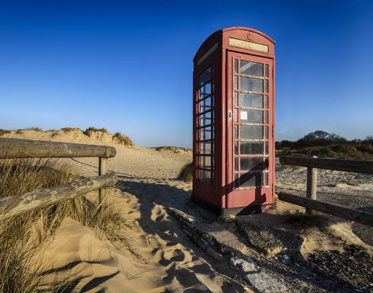 A telephone box on Studland Beach – one stop on The Carter Company's Dorset & New Forest cycling tour