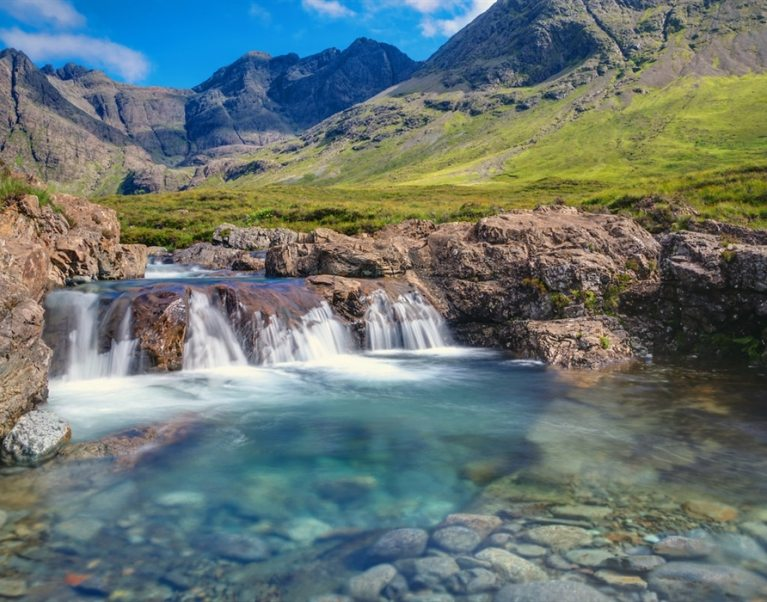The Fairy Pools, Isle of Skye; one of Scotland's hidden gems which can be visited on The Carter Company's unique cycling and walking holidays